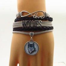 3aef48bc8b6 Infinity liefde wolven armbanden charm wolf armband grijs touw zwart paars lederen  armband voor vrouw en man