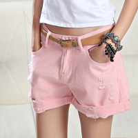 Plus Size White Pink Denim Shorts Women Summer Fashion Black Ripped Jeans Shorts Hole Tassel Femme