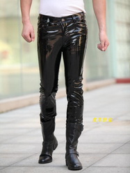 New Brand Fashion Men leather pants luxury designer Man sexy pant long skinny leather shiny patent leather party bar costumes