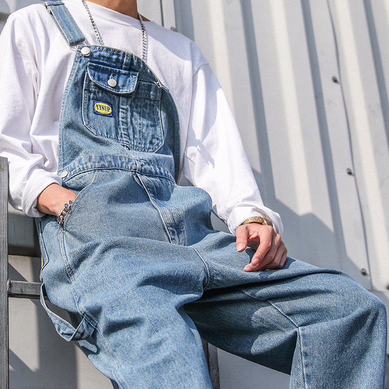 New Men's Cargo Denim Bib Overalls Baggy Loose Jeans Jumpsuits-in Jeans from Men's Clothing    2