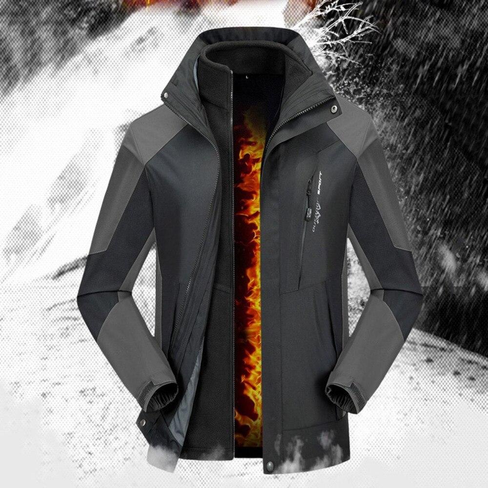 цена на Men Women Waterproof Warm Fleece Lining Windbreaker Jacket Couples Mountaineering Suit With Inner Tank Breathable Sportswear