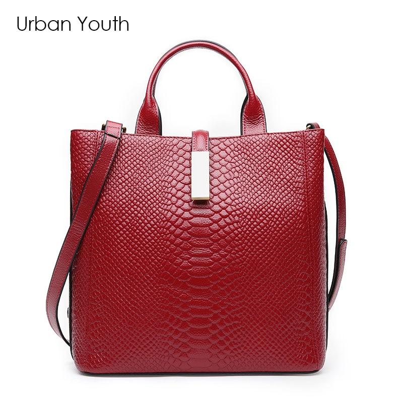 цена  Urban Youth Red Luxury Fashion Women Bag Brand Design Handbag Genuine Leather Alligator Pattern Document Shoulder Female Bag  онлайн в 2017 году