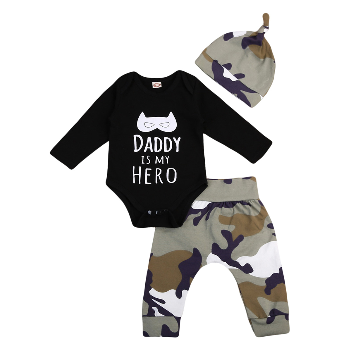 Fashion Newborn Baby Boy Clothes Long Sleeve Bodysuit Jumpsuit Pants Camo 3Pcs Outfit Casual Toddler Boy Suits