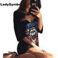 LadySymbol 2017 Halter Summer Dresses Women Short Sleeve Pin Hollow Out Harajuku Skull Cotton Black Casual Dress Party Vestidos