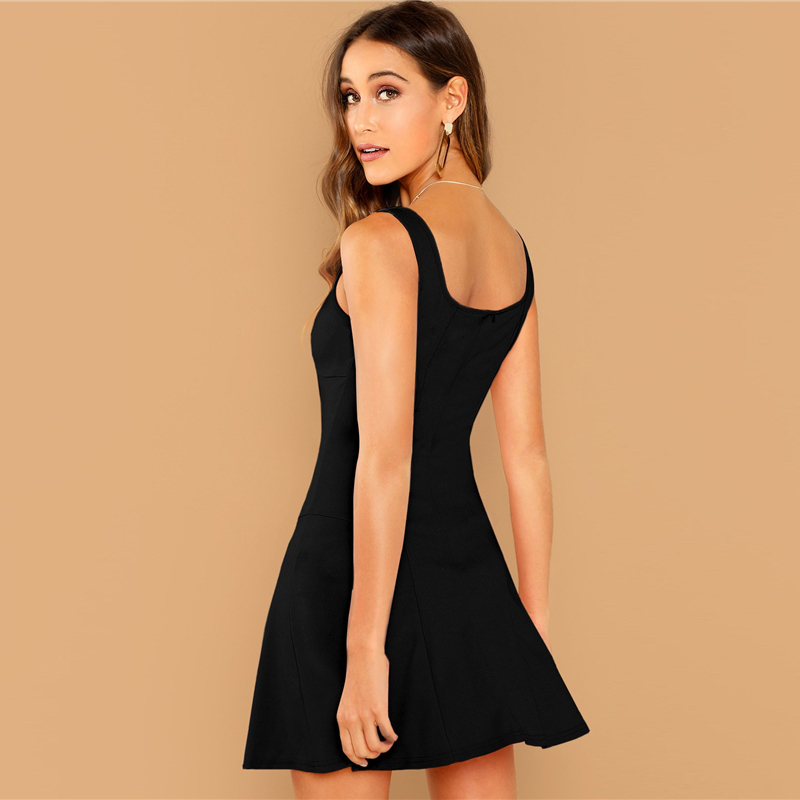 SHEIN Black Fit And Flare Solid Dress Elegant Straps Sleeveless Plain A Line Dresses Women Summer Autumn Zipper Short Dress 16