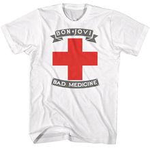 Bon Jovi Tall T-Shirt Bad Medicine White Tee Man Fashion Round Collar T Shirt top tee