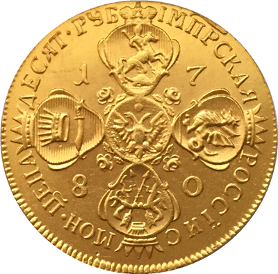 100% 24-K Gold plated 1780 russia 10 Roubles gold Coin copy