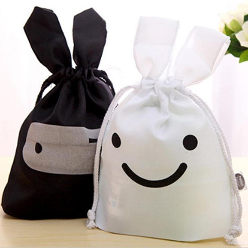 Cartoon Clothes Storage Bag Portable Cute Cloth Drawstring Makeup Pouch Holder Organizer Black White Colors