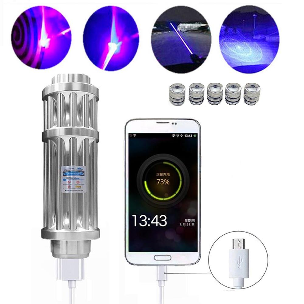 Haute Puissance USB de charge Laser bleu lampe torche 450nm 10000 m Focalisables Laser sight Lampe de Poche brûler l'allumette bougie cigarette allumée