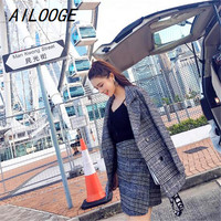 AILOOGE Two Piece Set Autumn And Winter New Houndstooth Jacket Croptop And Skirt Set Woman Suits Lady Suit Office Wool Coat