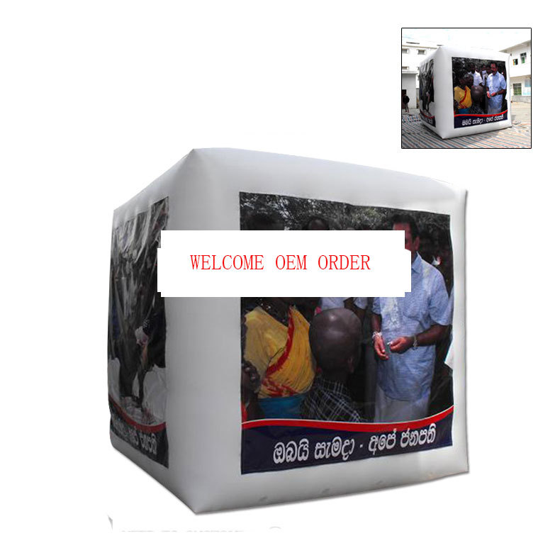 Cube Inflatable Advertising 4 Printing Sides Helium Balloon With Blower For Decoration