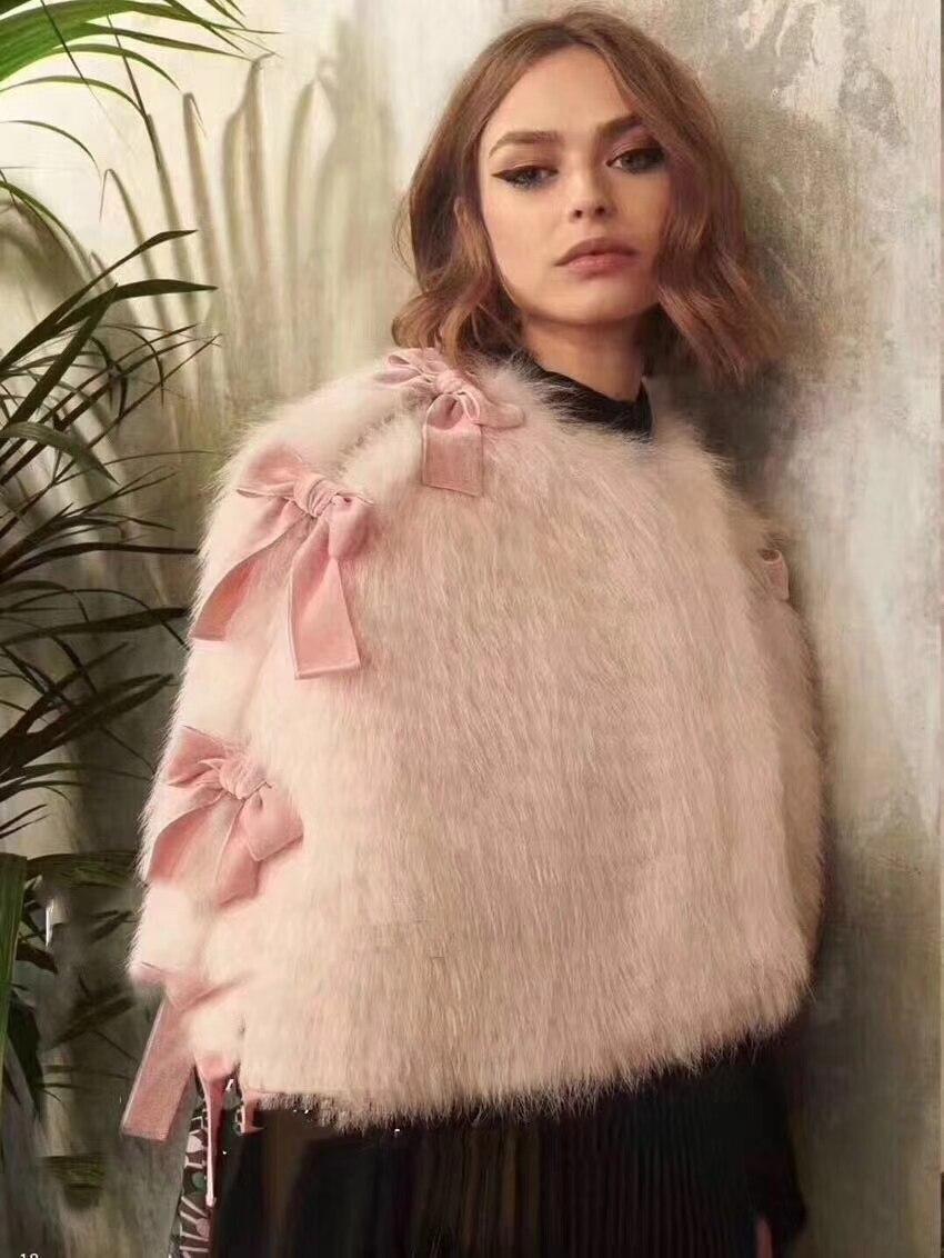 Vetement femme 2018 pink cape female jacket lovely rosette blouses vadim fashion fur cape coat cute temperament beauty clothes