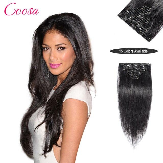 200 Г Клип В Наращивание Волос Jet Black 100% Человеческих Клип Ins Наращивание Волос ОТ 16 ДО 26 Дюйм(ов) tic tac aplique cabelo humano