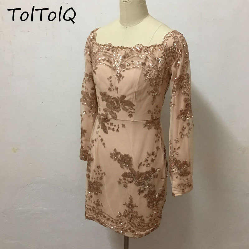 c2c159378dc00 TolTolQ 2018 New Pattern Paillette Wrap Chest Long Sleeve Dress Woman  Fashion Bling Sequined Off Shoulder Club Party Dresses