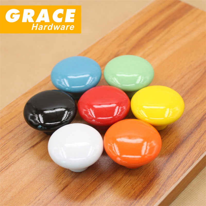 ceramic handle children cartoon font color drawer cabinet knobs flowers and pulls hardware