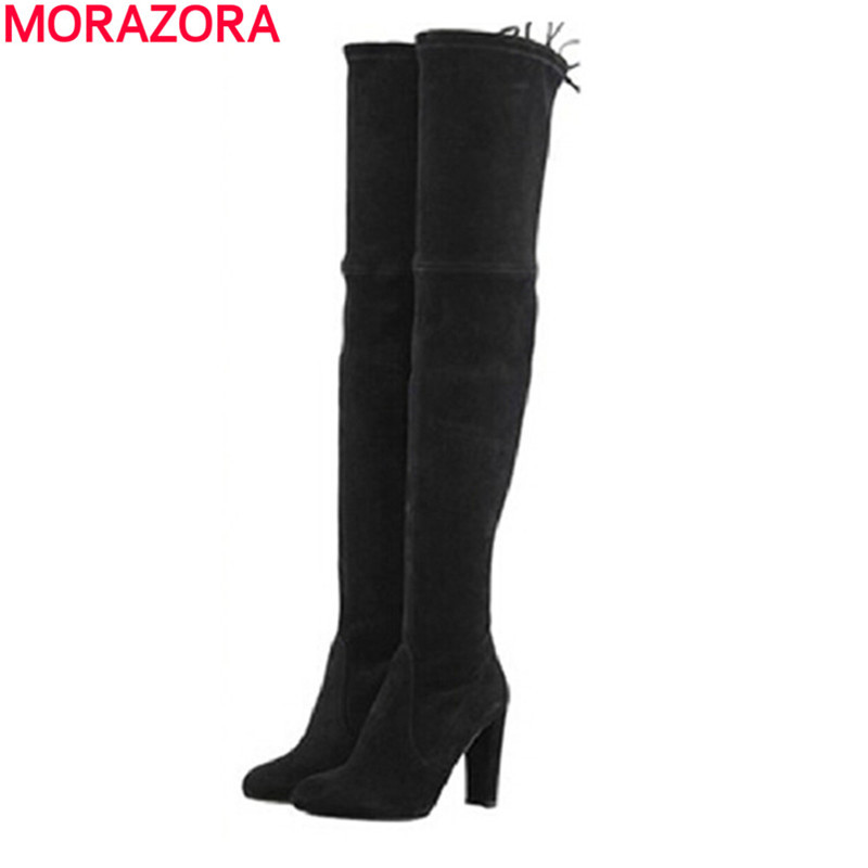 MORAZORA 2018 Newest fashion chunky high heel over the knee boots elastic slim autumn winter women thigh high cow suede boots ppnu woman winter nubuck genuine leather over the knee snow boots women fashion womens suede thigh high boots ladies shoes flats