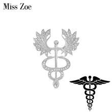 Brooch Symbol Jewelry-Doctor Custom-Pins Caduceus Nurse-Medicine Graduation Medical Gift