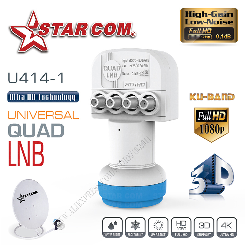 STAR COM Universal QUAD LNB For satellitt-TV-mottaker KU BAND LNB For satellitt-TV-boks