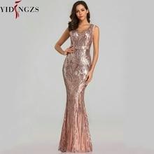 YIDINGZS 새로운 정장 장식 조각 이브닝 드레스 2020 v 목 구슬 저녁 파티 드레스 YD360