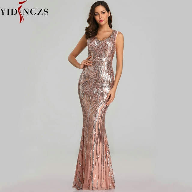 YIDINGZS New Formal Sequins Evening Dress 2020 V neck Beading Evening Party Dress YD360