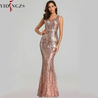 YIDINGZS New Sexy Sequins Evening Dress V neck Beading Maxi Dress Party Prom Dress