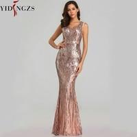 YIDINGZS New Sexy Sequins Evening Dress V neck Beading Maxi Dress Party Prom Dress