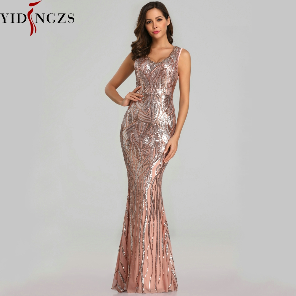 YIDINGZS nouvelle robe de soirée Sexy paillettes col en v perles Maxi robe de soirée robe de bal