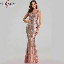 Yidingzs vestido formal para noite, vestido formal com lantejoulas, decote em v, com miçangas, para festa à noite 2020 yd360