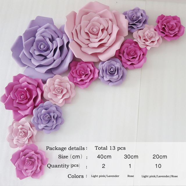 Us 59 98 Aliexpress Com Buy 13pcs Giant Paper Foam Flower Large Flower Big Paper Flower For Wedding Party Background Flower Wall Backdrop