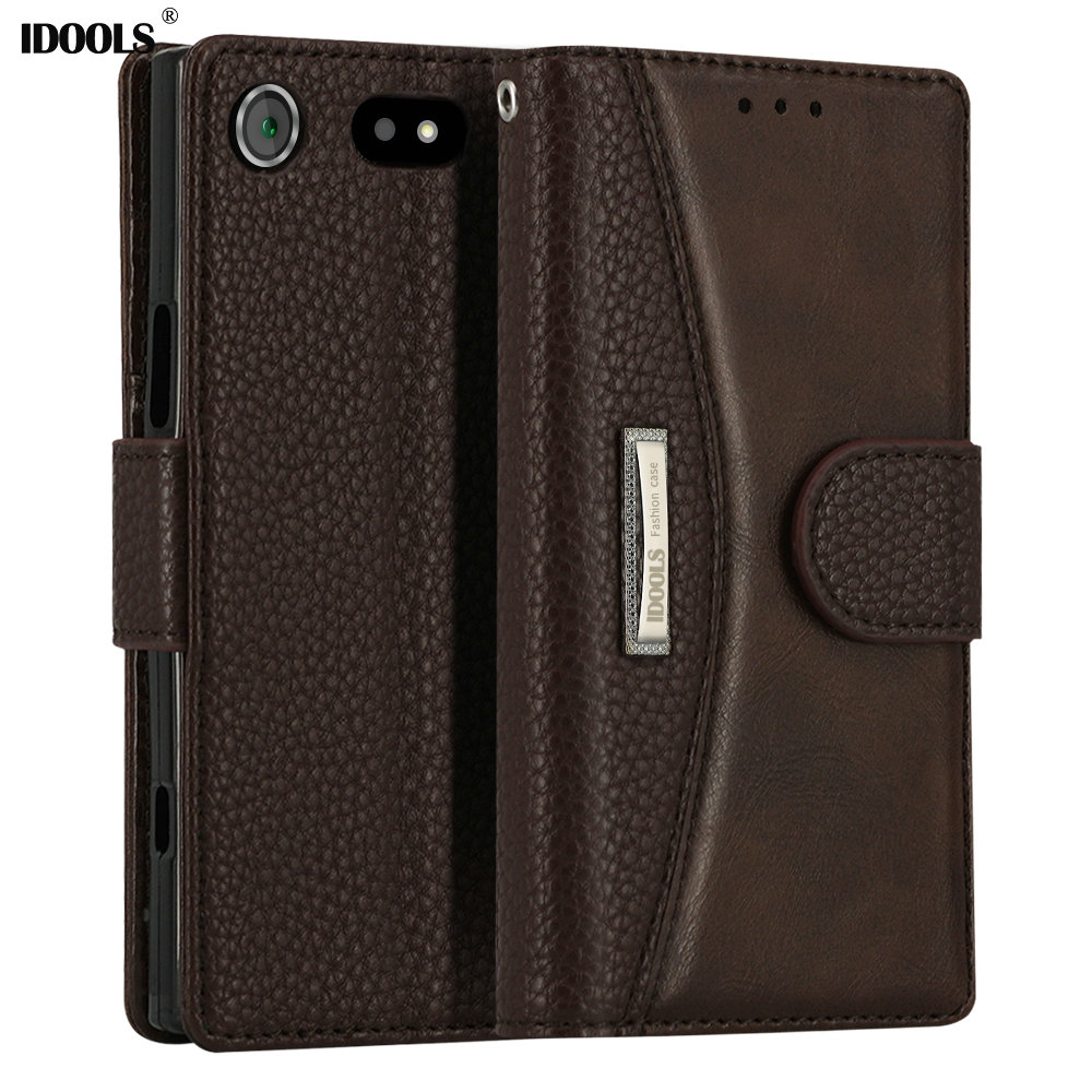 IDOOLS for Sony Xperia XZ2 Compact Case Vintage PU leather Covers Mobile Phone Accessories Bags Cases for Sony XZ1 Compact