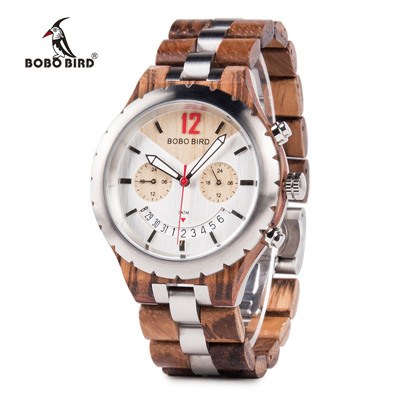 BOBO BIRD Watch Men Luxury Metal Wood Watches Stainless Steel With Date Display Multiple Color Timepiece
