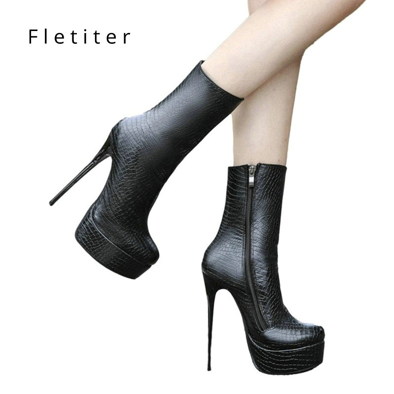 STOCK Ankle Boots Women Platform Super High Heel winter boots women Sexy casual Shoes Fetish crocodile