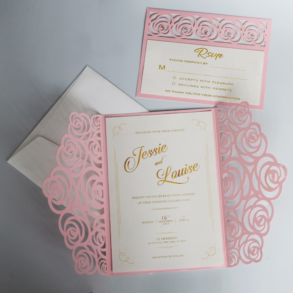 Romantic Wedding Invitation Wording: Rose Wedding Invitations Set Romantic Pink Invitation Card