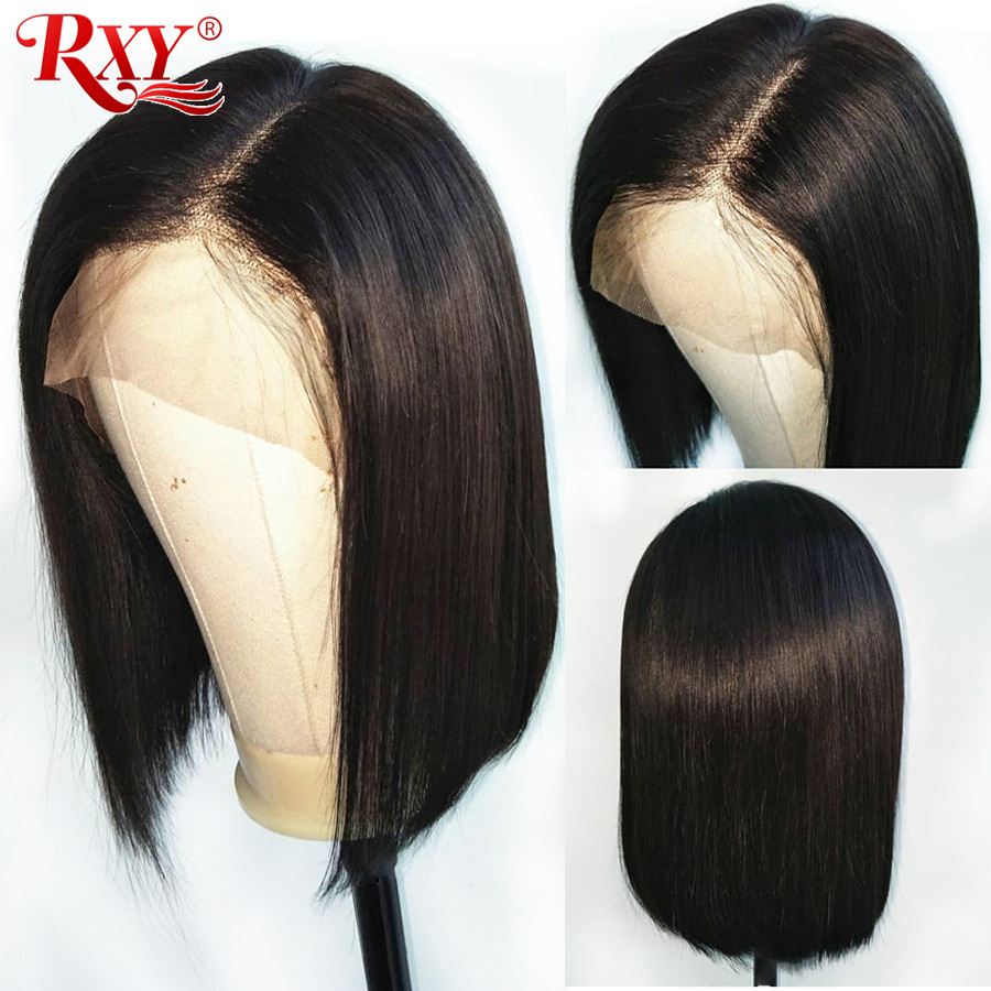 RXY Short Bob Wig Short Human Hair Wigs 12x6 Remy Straight Lace Front Human Hair Wigs