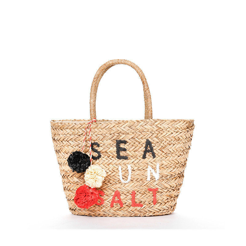 Fashion Pompom Embroidery Portable Straw Plaited Article Package Sandy Beach bag Vacation handbag sandy beach round mat