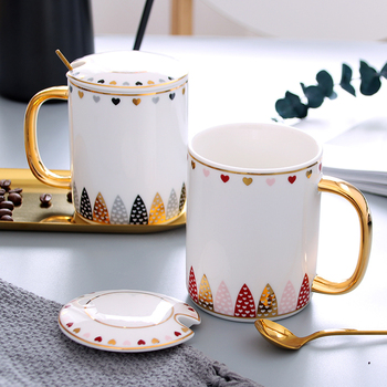European Style Leaf Design Coffee Mugs With Spoon And Lid Ceramic Tea Cup Set Milk Juice Breakfast Cups And Mugs Creative Gift