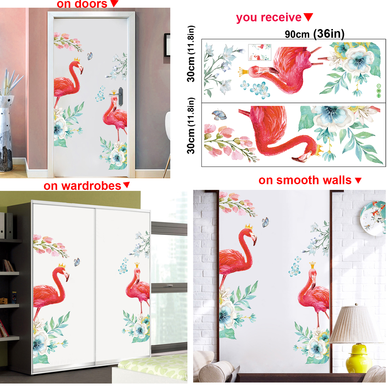 Flamingo Tropical Flowers Leaves Removable Wall Art Stickers Decal Nursery Decor Door Vinyl Decals Buy At The Price Of 6 10 In Aliexpress Com Imall