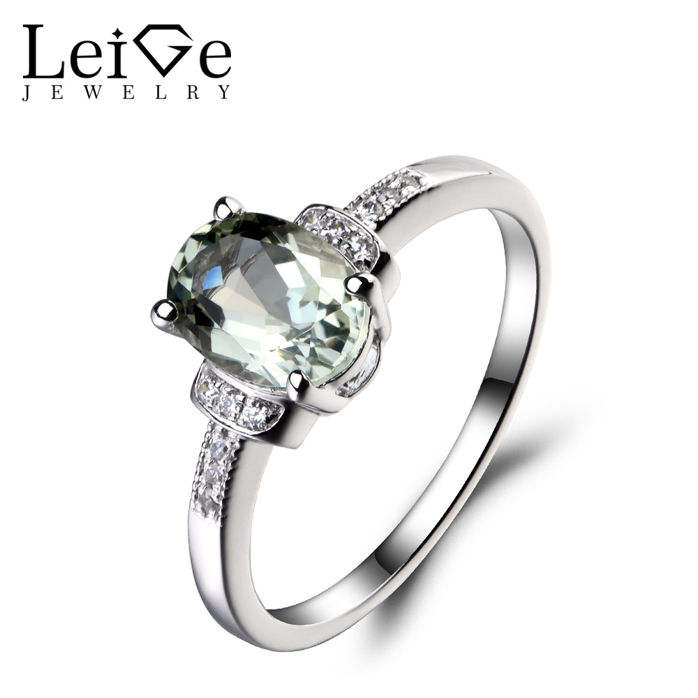 Leige Jewelry Natural Green Amethyst 925 Sterling Silver Ring Oval Cut Gemstone Promise Engagement Rings Jewelry for Women leige jewelry natural amethyst ring purple gemstone oval shaped wedding engagement rings for women sterling silver 925 jewelry