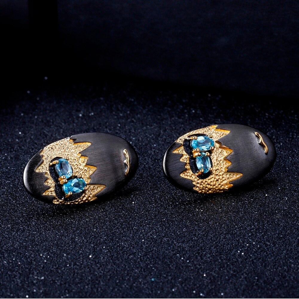 GEM'S BALLET 925 Sterling Silver Ocean Seagull Ring Earrings Pendant Set For Women Natural Swiss Blue Topaz Gemstone Jewelry Set