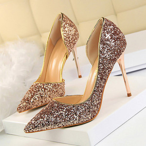 LAKESHI Women Pumps Sexy Wedding Shoes Bling Extreme High Heels Women Heel Shoes Gold Sequins Gradient Stiletto Ladies Shoes(China)