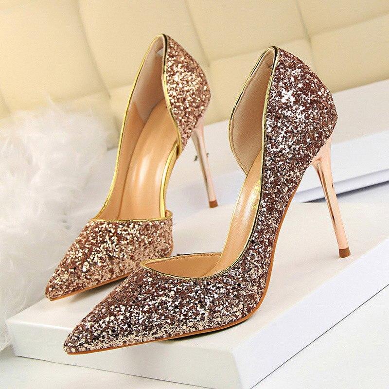 LAKESHI mujeres bombas Sexy zapatos de boda Bling tacones altos extremos mujeres zapatos de tacón oro lentejuelas gradiente Stiletto señoras zapatos Verano caliente zapatos de mujer lado con puntera Zapatos de vestir Zapatos de tacón alto zapatos de barco zapatos de boda tenis sandalias femeninas # A08