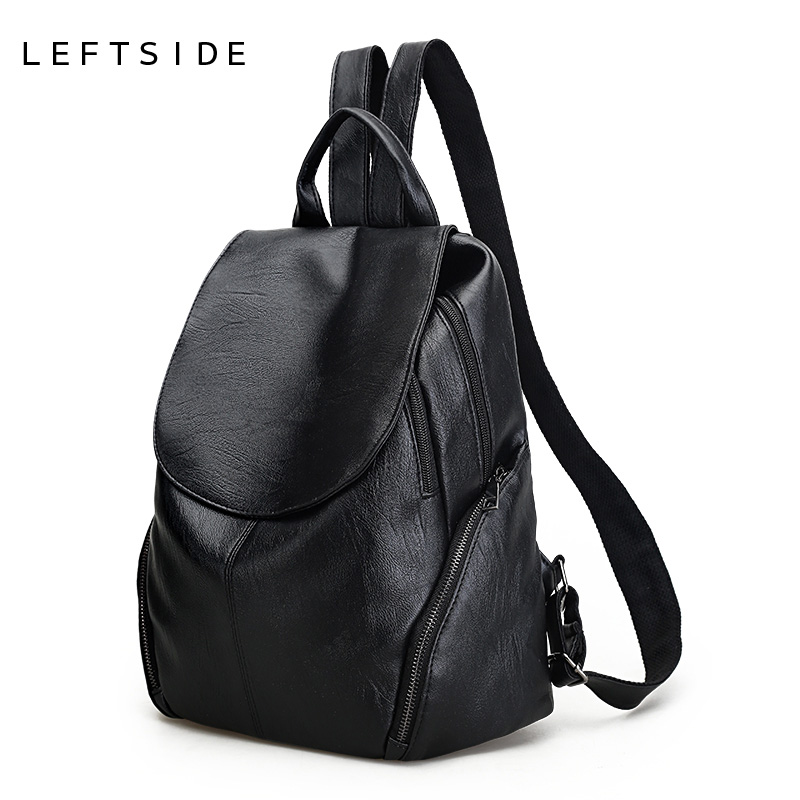 LEFTSIDE Women Big Black Backpacks High Quality Soft PU Leather Teen Backpack Teenage Girls School