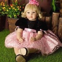 22 Lifelike Reborn золотые волосы девушка куклы ручной работы силикона Винил принцесса детская коллекция игрушка в подарок