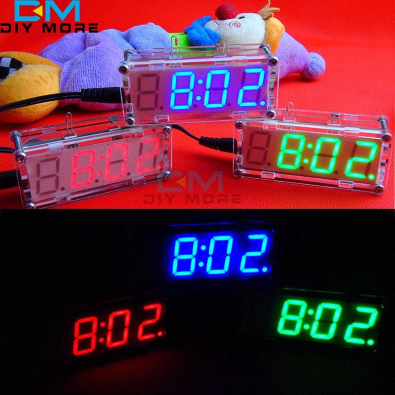 все цены на DIY Clock Electronic Kit Suite Microcontroller RED/BLUE/GREEN Digital LED Display Clock Time Thermometer Alarm Clock онлайн