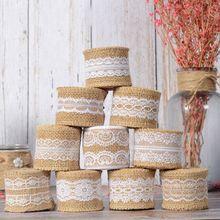 2M 5cm Cinta de arpillera de Yute natural boda clasica campestre decoración de lazo de arpillera de yute rollo feliz suministros para fiesta de Navidad DIY