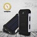 Novo estilo de 10000 mah dual usb bateria externa banco de energia solar À Prova D' Água luz led duplo carregador solar Portátil para celular telefone
