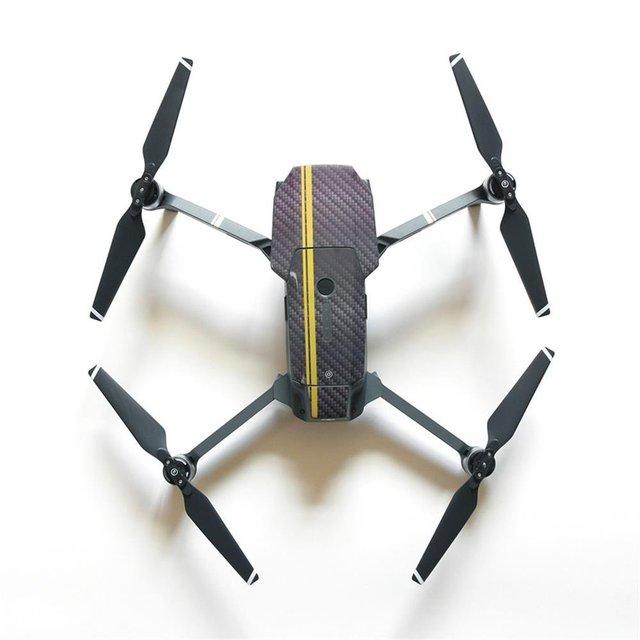 Telesin patrón de fibra de carbono cubierta de la etiqueta engomada del protector piel y hélices prop reemplazo para dji mavic pro drone