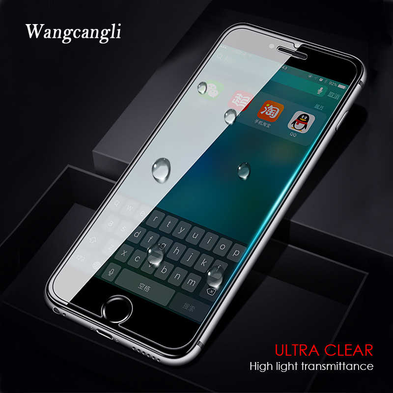 Wangcangli زجاج واقي على ل iphone 7 زجاج واقي للشاشة زجاج مقسى ل iphone 7 plus X 8 6 6S 5s 5 se 4s 4