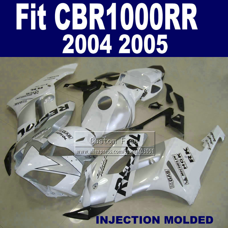 ABS Injection fairing kits for 04 05 Honda CBR1000RR CBR 1000 RR 2004 2005 CBR 1000RR white repsol fairings body set oil pump with 2pcs worm gear wheel fits husqvarna 61 266 268 162 272 replace 501512501 501513801