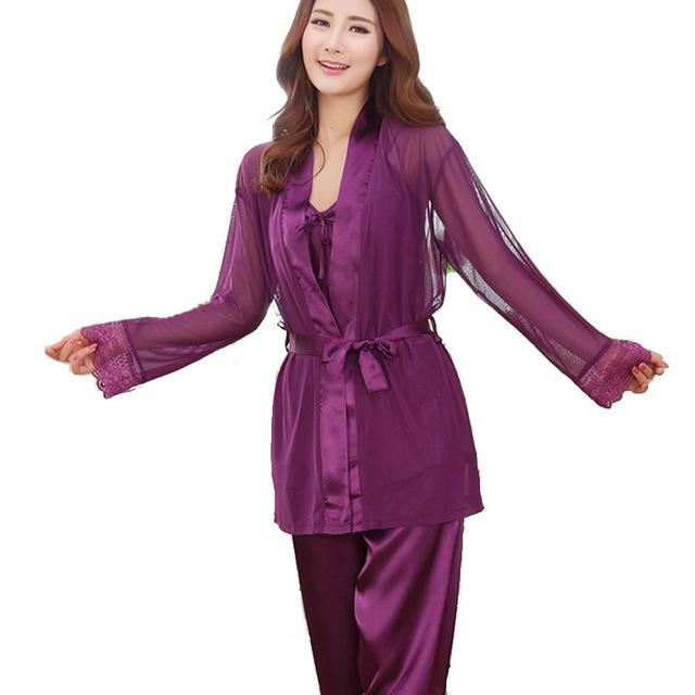 Satén de seda Pijamas de Las Mujeres Determinadas Sexy 3 Unidades Traje de Dormir ropa de Dormir Camisón Pijama de Seda de Los Pantalones de Primavera y Verano